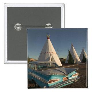 NA, USA, Arizona, Holbrook Route 66, Wigwam 2 Inch Square Button
