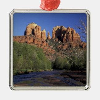 NA, USA, Arizona, Sedona. Cathedral Rock and Oak Christmas Ornament