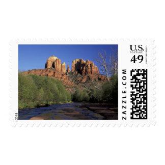 NA, USA, Arizona, Sedona. Cathedral Rock and Oak Stamp