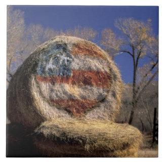 NA, USA, Colorado, Gunnison. Patriotic hay roll Ceramic Tile