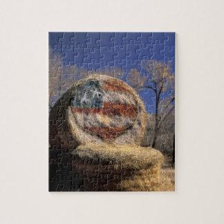 NA, USA, Colorado, Gunnison. Patriotic hay roll Jigsaw Puzzle