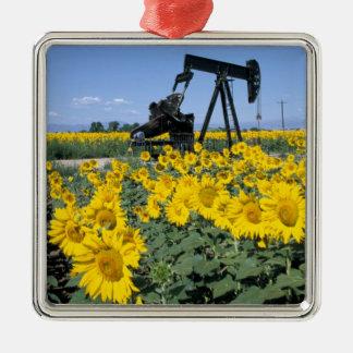 Na, USA, Colorado, Sunflowers, Oil Derrick Metal Ornament