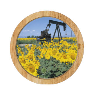 Na, USA, Colorado, Sunflowers, Oil Derrick Round Cheese Board