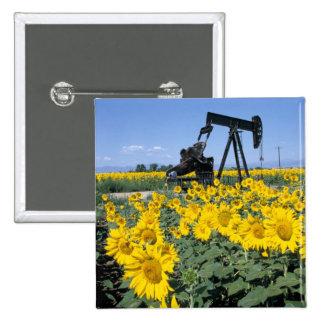 Na, USA, Colorado, Sunflowers, Oil Derrick Pinback Button