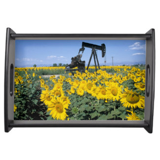 Na, USA, Colorado, Sunflowers, Oil Derrick Serving Tray