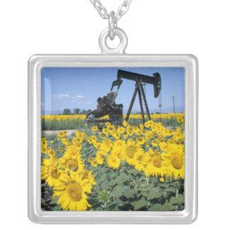 Na, USA, Colorado, Sunflowers, Oil Derrick Square Pendant Necklace