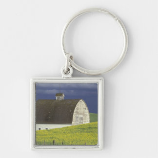 NA, USA, Idaho, south of Genesse, Canola field Silver-Colored Square Keychain