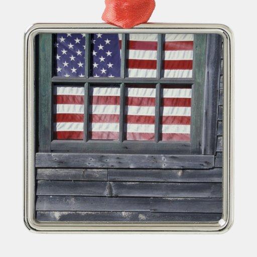 NA, USA, Maine, Georgetown Island. Flag of the Christmas Ornament