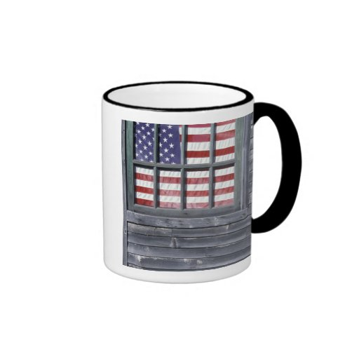 NA, USA, Maine, Georgetown Island. Flag of the Ringer Coffee Mug