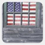 NA, USA, Maine, Georgetown Island. Flag of the Sticker
