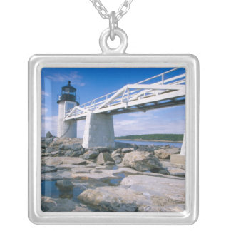 NA, USA, Maine, Port Clyde.  Marshall Point Silver Plated Necklace