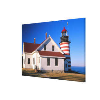 NA, USA, Maine.  West Quoddy lighthouse near Canvas Print