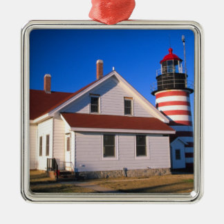 NA, USA, Maine.  West Quoddy lighthouse near Square Metal Christmas Ornament