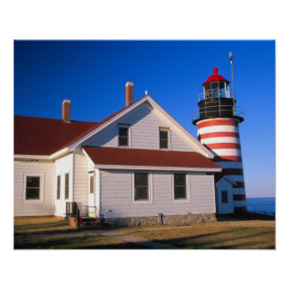 NA, USA, Maine.  West Quoddy lighthouse near Poster