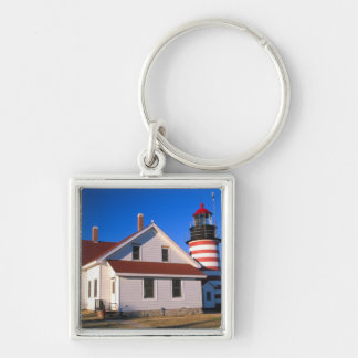 NA, USA, Maine.  West Quoddy lighthouse near Silver-Colored Square Keychain
