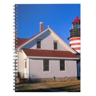 NA, USA, Maine.  West Quoddy lighthouse near Spiral Notebook