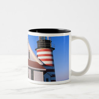 NA, USA, Maine.  West Quoddy lighthouse near Two-Tone Coffee Mug
