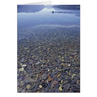NA, USA, Montana, Glacier NP Rocks in Lake Card