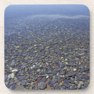 NA, USA, Montana, Glacier NP Rocks in Lake Drink Coaster