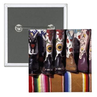 NA, USA, New Mexico, Santa Fe. Cowboy boots Pinback Button
