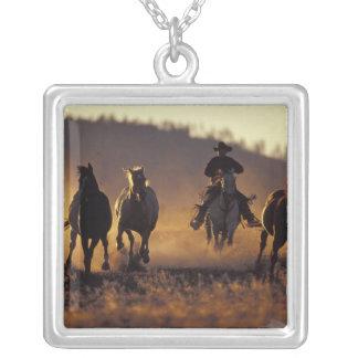 NA, USA, Oregon, Seneca, Ponderosa Ranch, Cowboy 2 Square Pendant Necklace