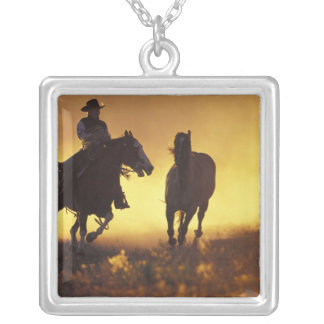 NA, USA, Oregon, Seneca, Ponderosa Ranch, Cowboy 3 Square Pendant Necklace