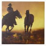 NA, USA, Oregon, Seneca, Ponderosa Ranch, Cowboy 3 Ceramic Tiles