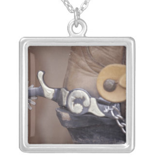 NA, USA, Texas, Lubbock Cowboy boot and spur Silver Plated Necklace