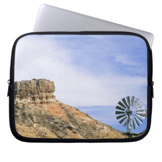 NA, USA, Texas Windmill and cliffs of Palo Duro Computer Sleeve