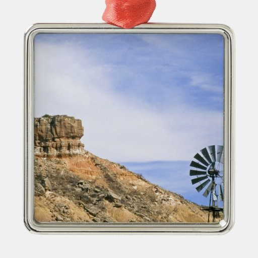NA, USA, Texas Windmill and cliffs of Palo Duro Ornament