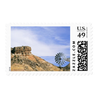 NA, USA, Texas Windmill and cliffs of Palo Duro Postage