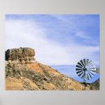 NA, USA, Texas Windmill and cliffs of Palo Duro Print