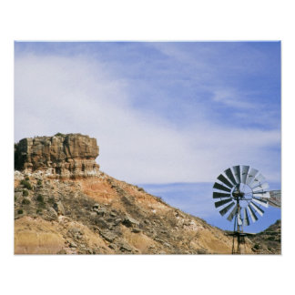 NA, USA, Texas Windmill and cliffs of Palo Duro Poster