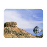 NA, USA, Texas Windmill and cliffs of Palo Duro Rectangular Magnet