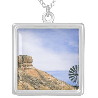 NA, USA, Texas Windmill and cliffs of Palo Duro Square Pendant Necklace
