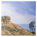 NA, USA, Texas Windmill and cliffs of Palo Duro Tile