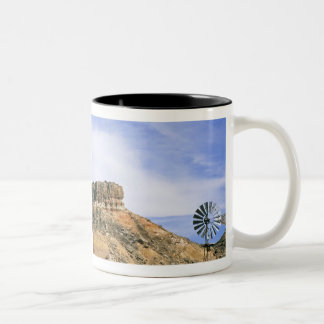 NA, USA, Texas Windmill and cliffs of Palo Duro Two-Tone Coffee Mug