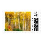 NA, USA, Washington, Fall Aspen Trees along Postage Stamps