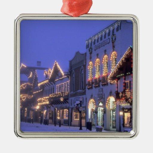 NA, USA, Washington, Leavenworth. Main Street Square Metal Christmas Ornament