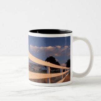 NA, USA, Washington, near Walla Walla, fence, Two-Tone Coffee Mug