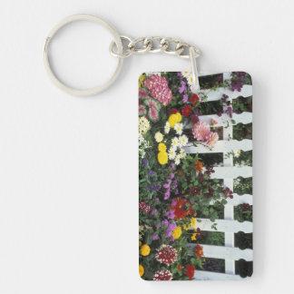NA, USA, Washington, Sammamish, White picket Double-Sided Rectangular Acrylic Keychain