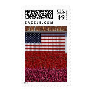 NA, USA, Washington, Skagit Valley, U.S. flag on Stamp
