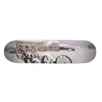 NA, USA, Washington, Uniontown, White barn and Skateboard