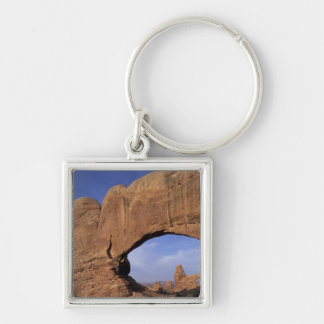 NA, Utah, Arches National Park. Double Arch Silver-Colored Square Keychain