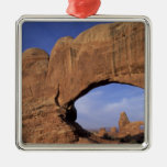 NA, Utah, Arches National Park. Double Arch Square Metal Christmas Ornament