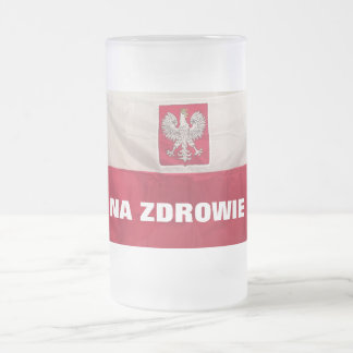 NA ZDROWIE FROSTED GLASS BEER MUG