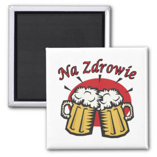 Na Zdrowie Toast With Beer Mugs 2 Inch Square Magnet