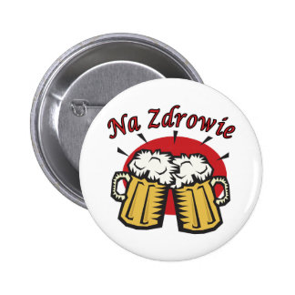Na Zdrowie Toast With Beer Mugs Button