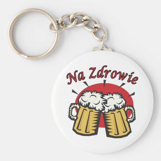 Na Zdrowie Toast With Beer Mugs Keychain