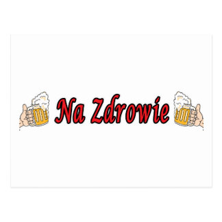 Na Zdrowie Toast With Beer Mugs Postcards
